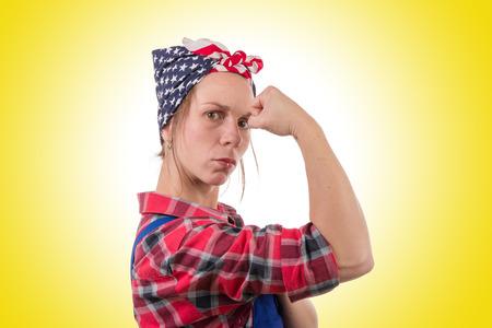 Photo pour pretty young woman worker with vintage bandana - image libre de droit