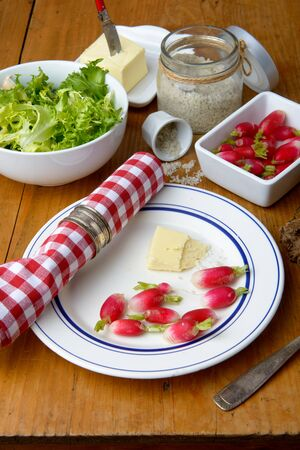 Photo pour plate with radish and butter on a table - image libre de droit