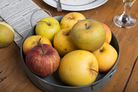 Photo pour apples in a metal basket on rustic table - image libre de droit