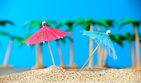 Two small umbrellas on a beach with palm trees
