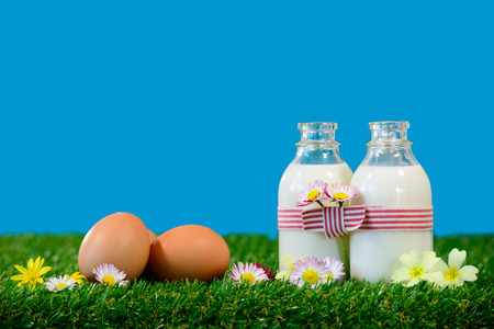 Photo pour three small bottles of milk and eggs on the grass - image libre de droit