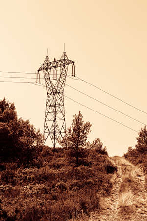 Photo for high voltage line on the Etoile massif, north of Marseille - Royalty Free Image