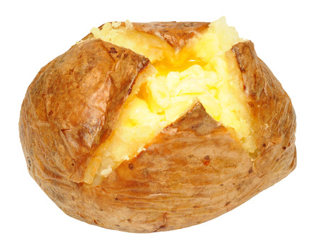 Freshly baked potato with melting butter isolated on a white background