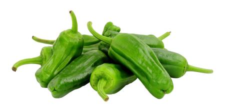 Foto für Group of fresh raw green Mediterranean padron peppers isolated on a white background - Lizenzfreies Bild