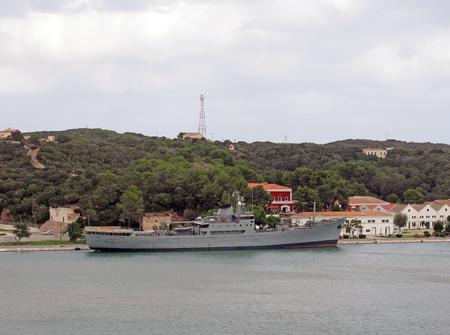 mahon, menorca, spain - 6 september 2018: the contramaestre casado spanish navy supply ship docked in mahon harbour in menorca
