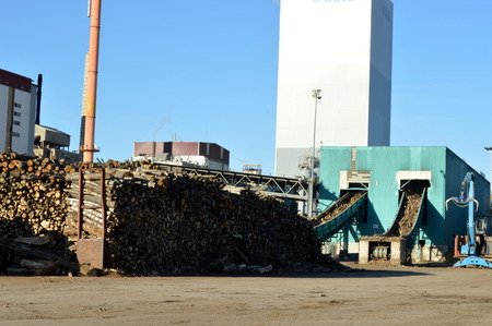 Pulp mill with two fireplaces, wood and a blue sky