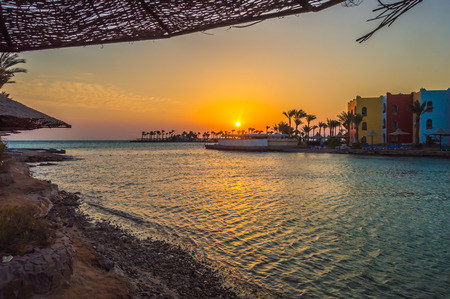 Sunrise on a peninsula and a lagoon of Hurghada on the Red Sea in Egypt