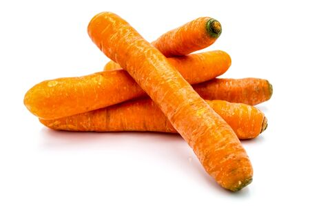 Ripe carrots isolated on white background