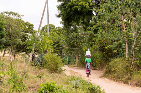 Photo pour African woman carrying a bag of groceries on her head In the wooded countryside near Watamu in Kenya - image libre de droit
