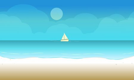 Illustration for The Beach landscape background with sailboat in the sea ocean. Vector illustration. - Royalty Free Image