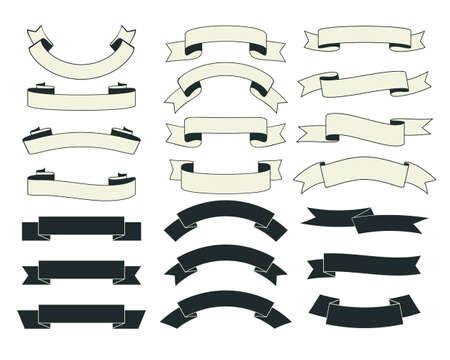 Illustration pour Set of vintage ribbons with  black and white color. - image libre de droit