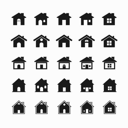 Illustration for house icon set with black color. vector illustration. - Royalty Free Image