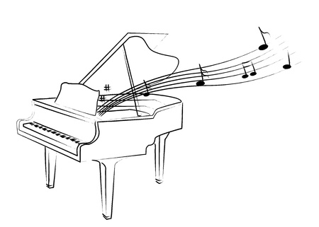 the sketch of piano with melody