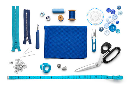 Photo pour Overhead view of sewing tools and accessories - image libre de droit
