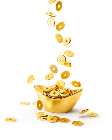 Foto de Gold coins dropping on gold sycee ( yuanbao ) isolated on white background - Imagen libre de derechos