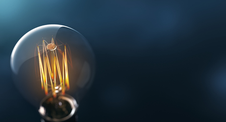Photo for Glowing edison light bulb on blue background - Royalty Free Image