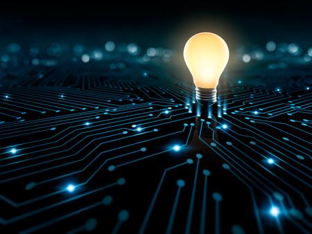 Photo pour Glowing light bulb on the converging point on a circuit - image libre de droit