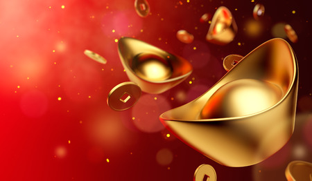 Photo pour Gold coins and gold sycee ( yuanbao ) on red background, Chinese New Year - image libre de droit