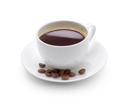 Photo pour A cup of black coffee isolated on white - image libre de droit