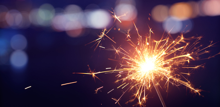 Photo for Sparkler with bokeh light background, Happy New Year - Royalty Free Image