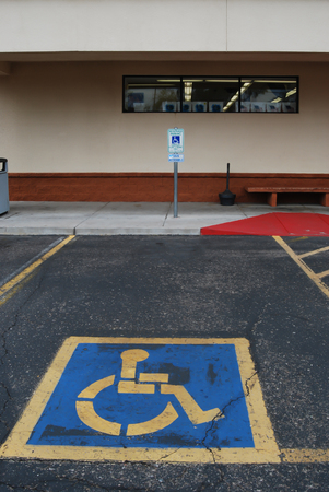 Parking spot reserved for disabled people.
