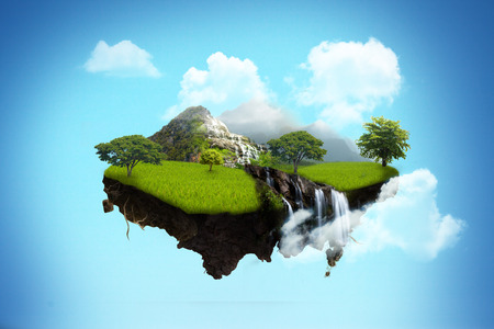 Photo pour island floating on sky. - image libre de droit