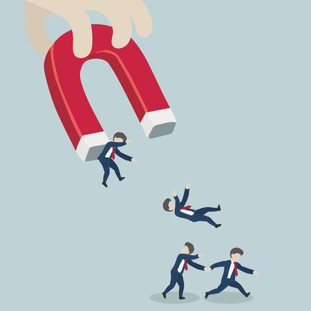 Illustration pour magnet choosing a man conceptual. - image libre de droit
