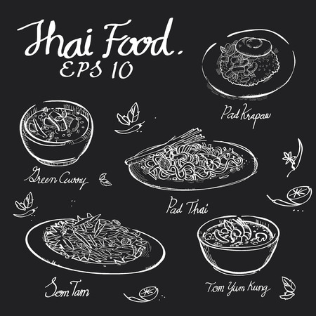 Illustration pour Thai food chalk draw on black board of Padthai,Pad Krapow,Green Curry,Somtum,Papaya salad,Tomyumkung in EPS 10 vector format. - image libre de droit