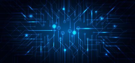 Illustration pour Abstract technology futuristic concept electronic circuit blue glowing on dark background. Technological structure computer business. Vector illustration - image libre de droit
