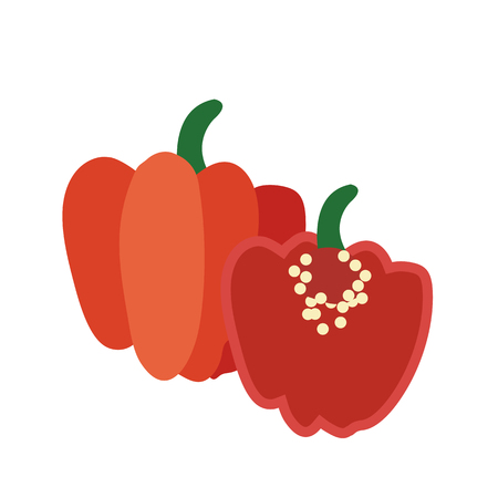 Illustration for Nature organic vegetable Red Scotch bonnet pepper, healthy vector colorful food vegetable spice ingredient. - Royalty Free Image
