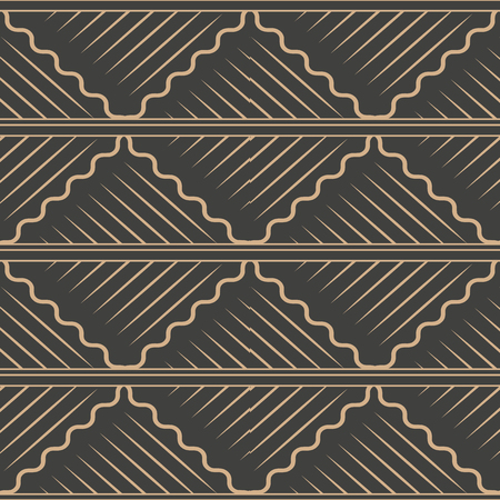 Illustration pour Vector damask seamless retro pattern background spiral curve wave cross frame line. Elegant luxury brown tone design for wallpapers, backdrops and page fill. - image libre de droit