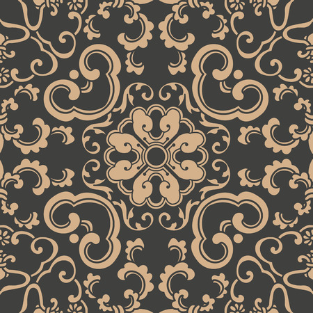 Illustration pour Vector damask seamless retro pattern background spiral curve cross oriental frame chain leaf vine flower. Elegant luxury brown tone design for wallpapers, backdrops and page fill. - image libre de droit