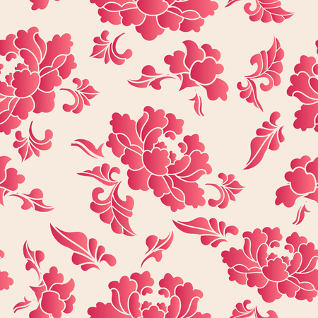 Illustration pour Elegant seamless Chinese style botanic garden peony flower pattern background. Traditional retro wallpaper design. - image libre de droit