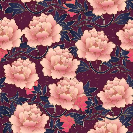 Illustration pour Chinese elegant botanic garden pink purple peony flower seamless pattern background. Idea for greeting card, web banner design. - image libre de droit