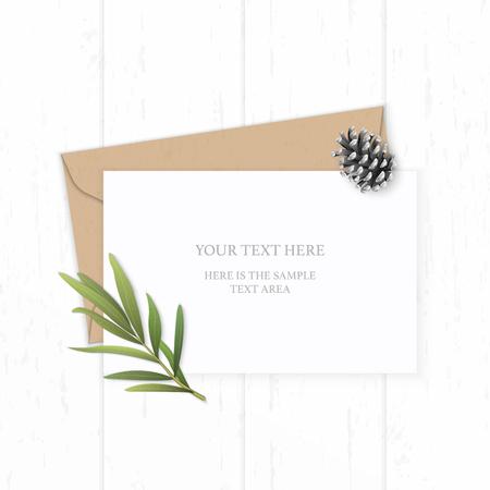 Illustration pour Flat lay top view elegant white composition letter kraft paper envelope pine cone tarragon leaf on wooden background. - image libre de droit