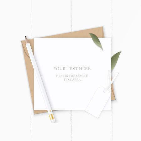 Illustration pour Flat lay top view elegant white composition letter kraft paper envelope nature leaf pencil and tag on wooden background. - image libre de droit