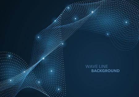 Ilustración de Futuristic abstract wave dot gradient line and illuminated light ball template background. Idea both for print and web promotion design. - Imagen libre de derechos