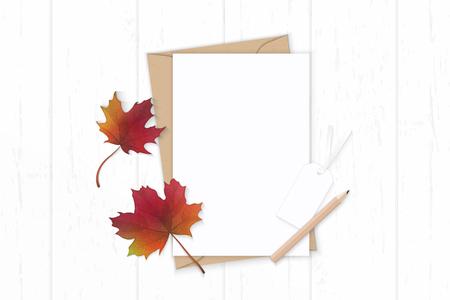 Photo pour Flat lay top view elegant white composition letter, kraft paper, envelope, pencils, autumn maple leaf and tag on wooden background. - image libre de droit