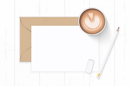 Photo for Flat lay top view elegant white composition letter, kraft paper envelope, coffee, pencil, eraser on wooden background. - Royalty Free Image