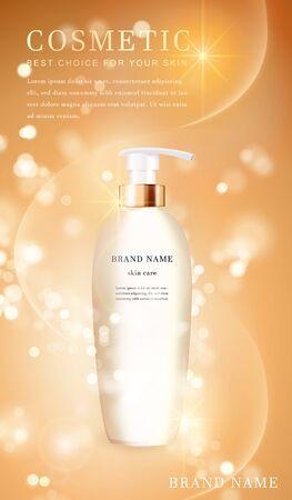 Illustration pour 3D transparent cosmetic bottle container with shiny golden glimmering background template banner. - image libre de droit