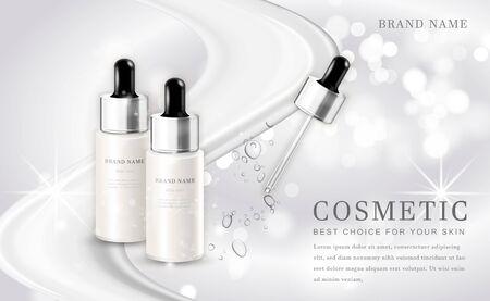 Illustration pour Vector 3D cosmetic make up illustration product bottle with elegant white shiny background - image libre de droit