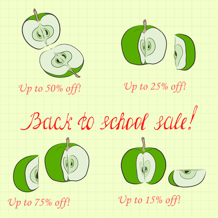 Back to School Sale Pictured as Divided Apples and Handwritten Lettering. Background Made as Square Copybook Sheet.