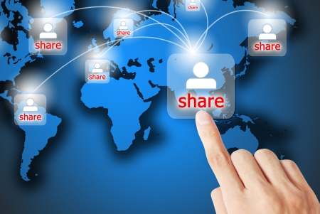 Photo for The hand is pressing the share button - Royalty Free Image