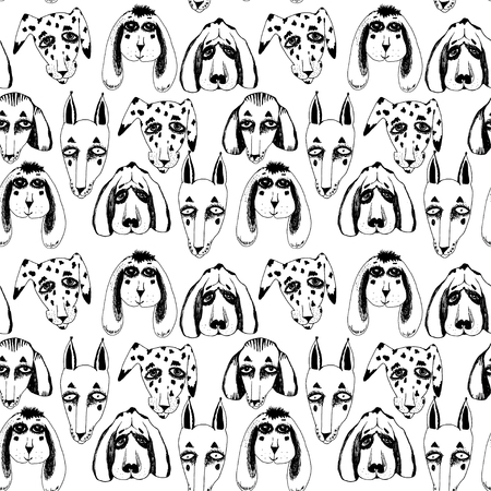 Vector naive hand drawn breed of dogs seamless pattern isolated. Doodle style puppy drawings for pet lovers background. Canine character repetition art in comic style.