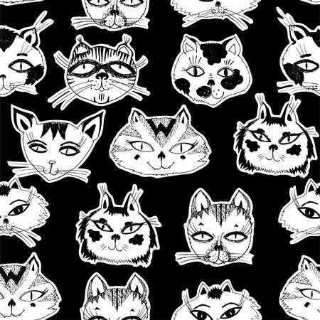 Seamless pattern with cute cats heads emoticons. Hand drawn kitten background vector isolated. Doodle style feline drawings for pet lovers. Breeds and character art in comic style.