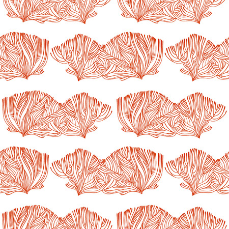 Illustration pour Coral or algae doodle linear seamless pattern. Marine background for textiles, pillow interior decoration, wrapping paper, cosmetics, food drink packaging. Vector isolated tile. - image libre de droit