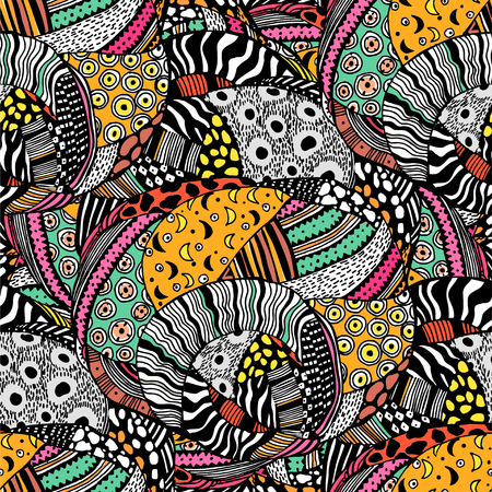 Illustration pour Ethnic style fashion African seamless pattern. Traditional geometric art with naive twist. Urban fabrics diversity fusion background. Traditional tribal tile, wallpaper. - image libre de droit