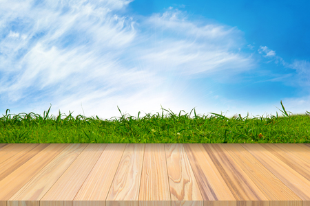 Wooden terrace with fresh spring green grass and blue sky natural background vignette or the naturally walls texture for use in design fairly, have field lush surface and greenery spring landscaping.