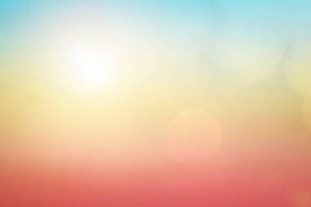 Foto de Natural background blurring warm colors and bright sun light. Bokeh or Christmas background Green Energy at sky sunny color orange light patterns plain abstract flare evening clouds blur. - Imagen libre de derechos