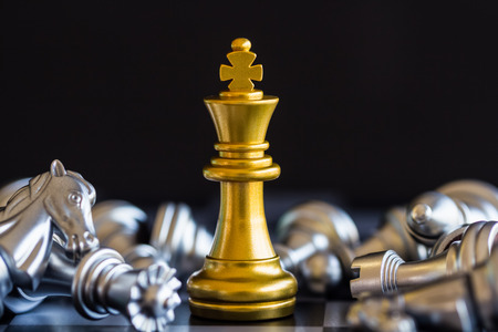 Photo for Strategy chess battle Intelligence challenge game on chessboard. Success the strategy concept. Chess business leader and success idea. Chess strategy game business competition success play. - Royalty Free Image